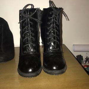 Black heels combat boot